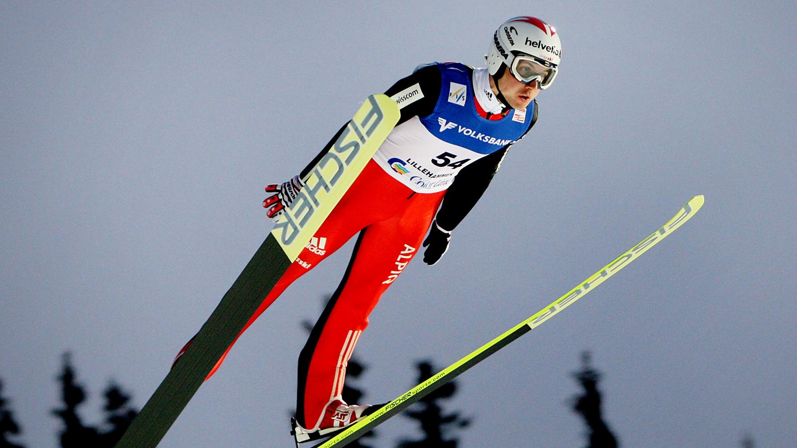 Simon Ammann of Switzerland skis during the Ski-jumping World Cup ...