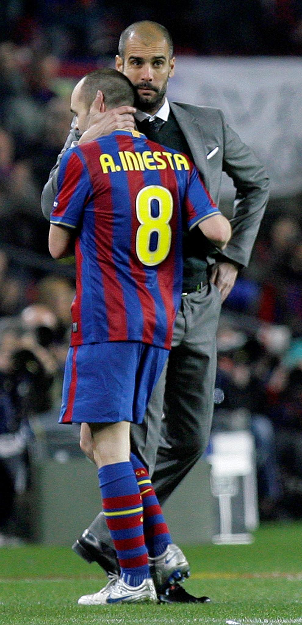 Pep Guardiola und Andres Iniesta, FC Barcelona