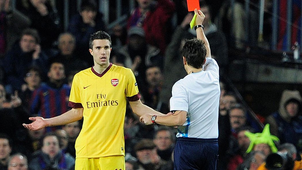 Image result for van persie barcelona red card