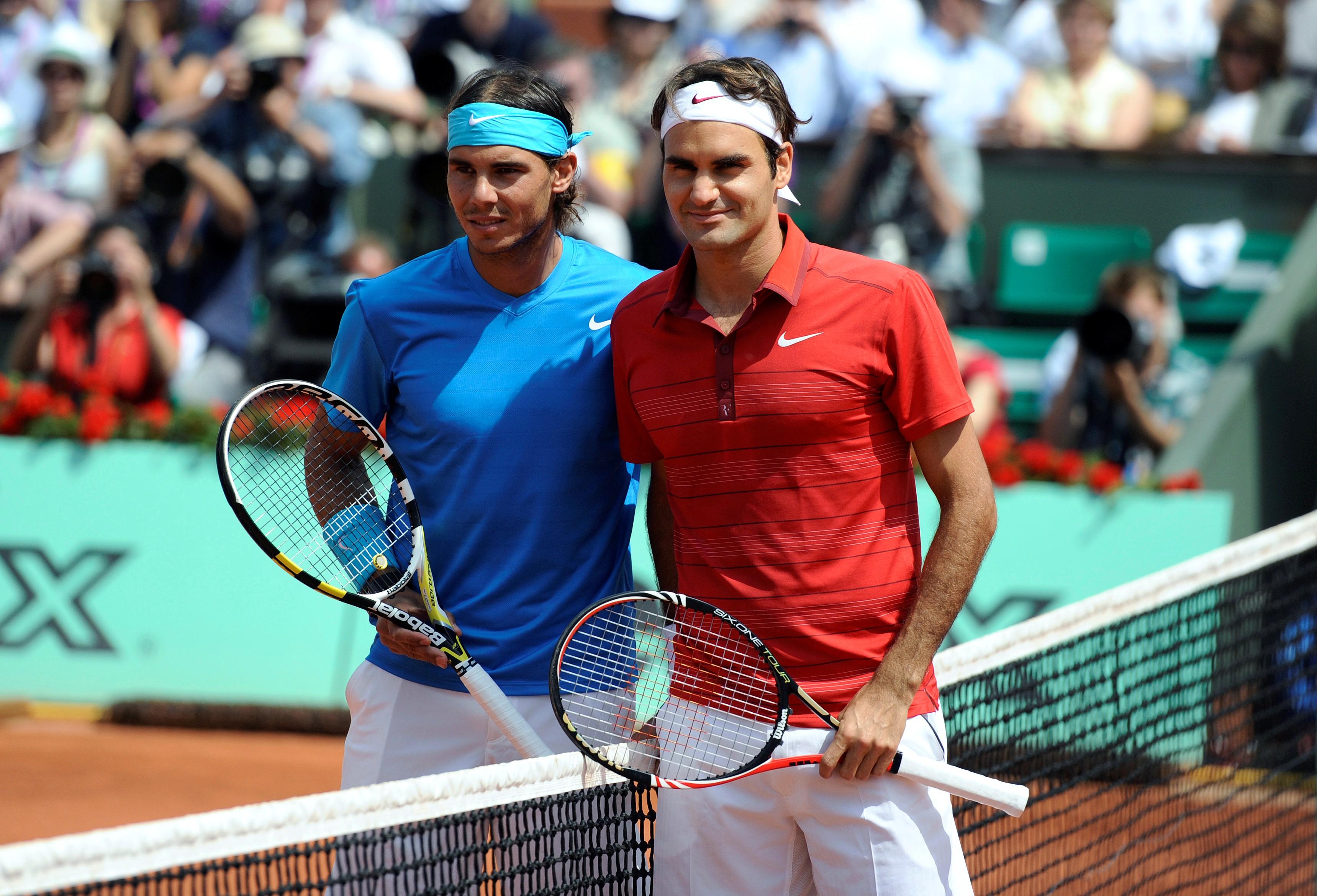 Roger Federer et Rafael Nadal avant la finale de Roland Garros en 2011