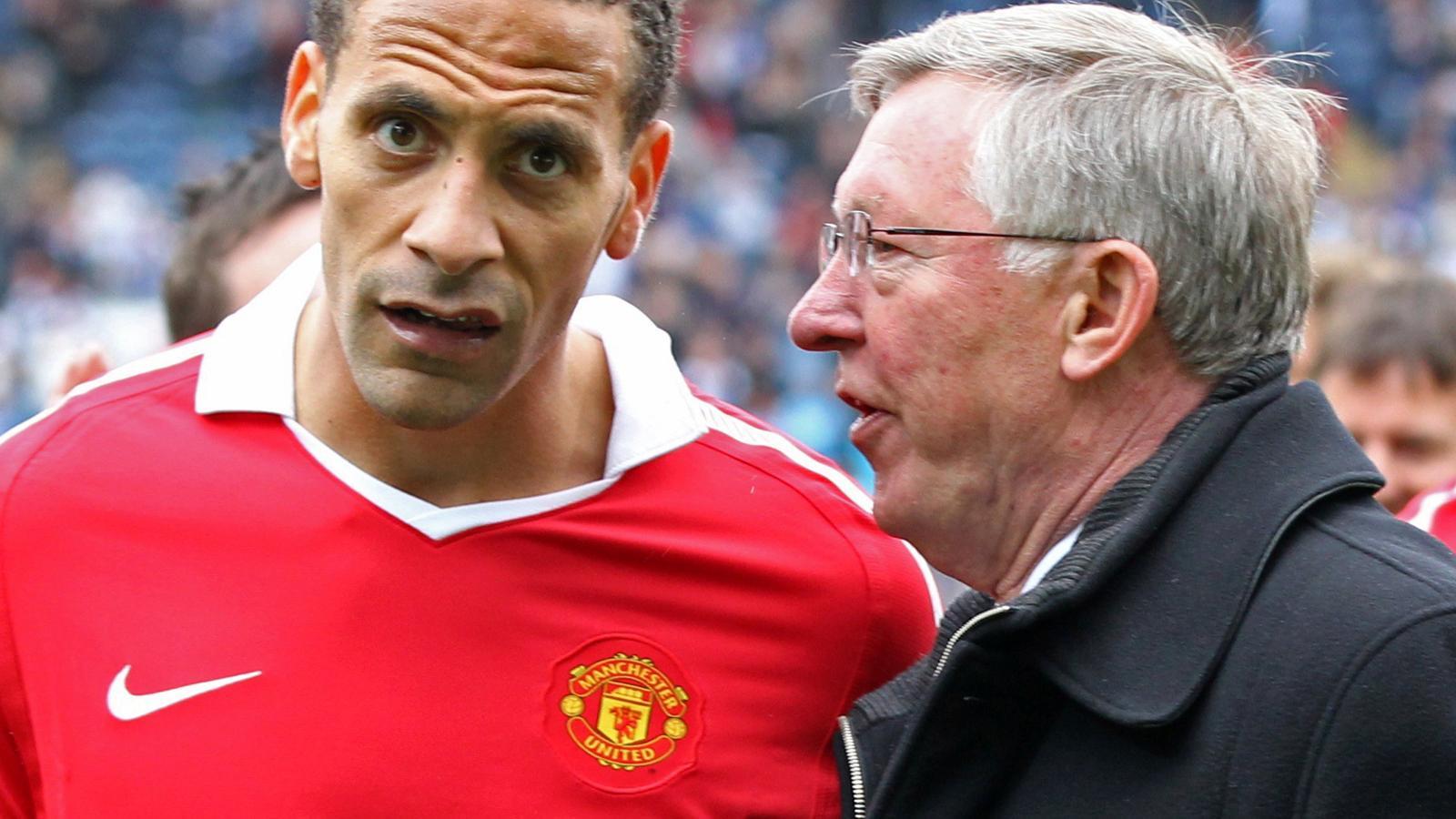 Sir Alex Ferguson and Rio Ferdinand while at Manchester United