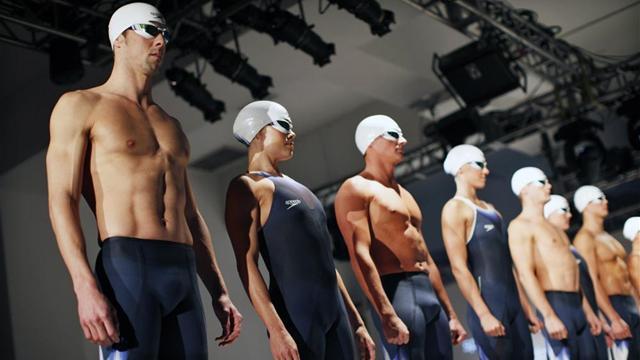 Phelps unveils new swim suit