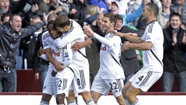 Swansea win first away game at Villa