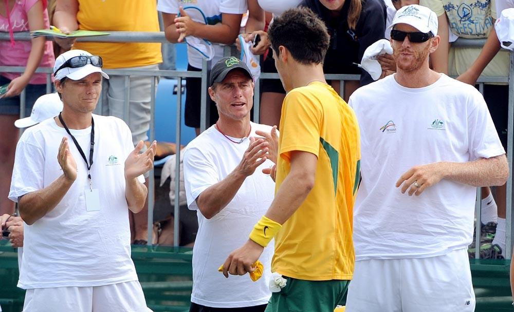 2012 TENNIS Davis Cup Lleyton Hewitt and Bernard Tomic