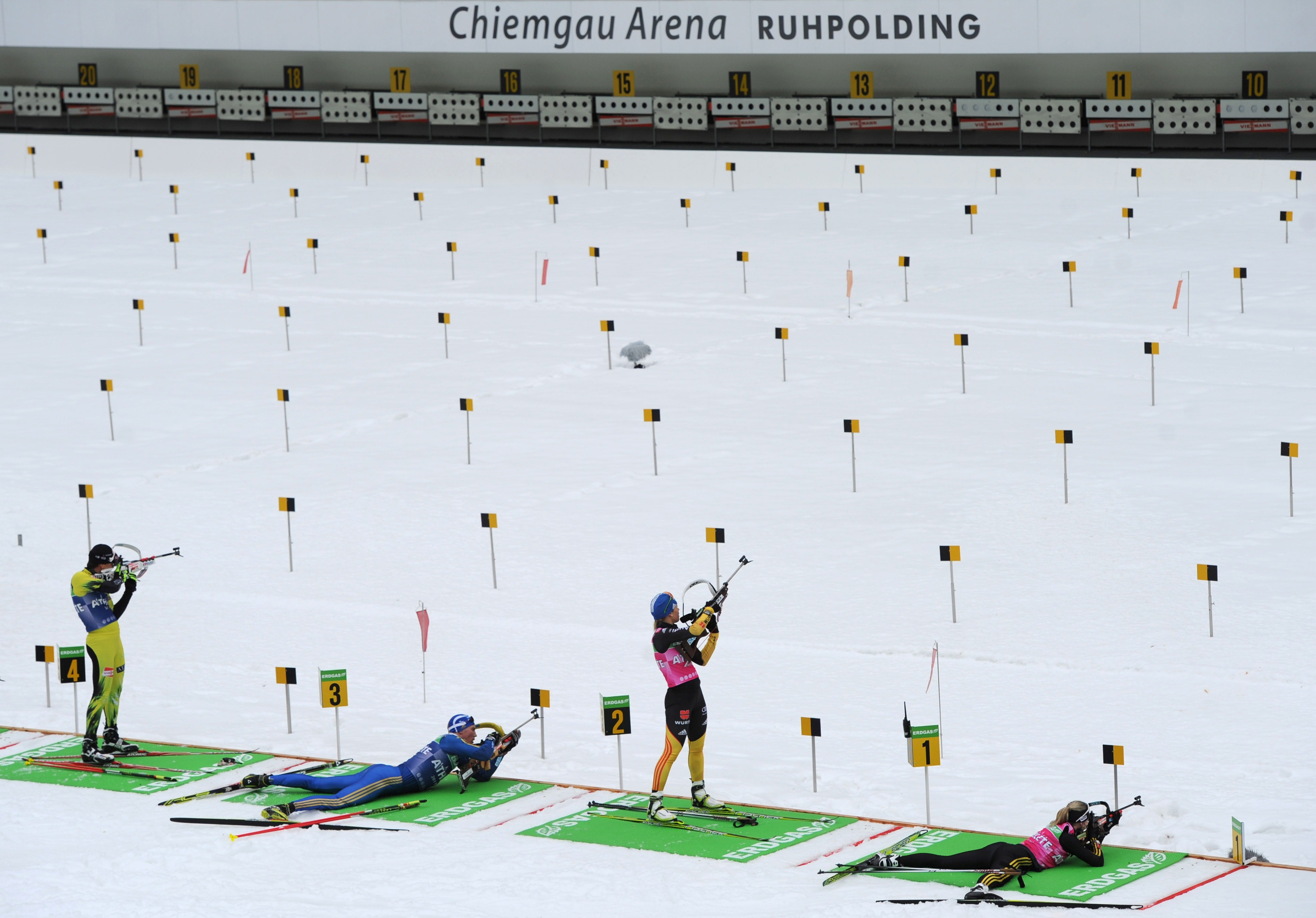 Biathletes shoot during the official training session before the start of the Biathlon World Championships on February 29, 2012 in Ruhpolding