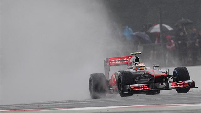 Hamilton tops wet practice