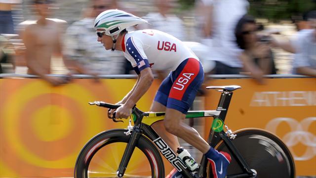 IOC strip Hamilton of 2004 cycling gold