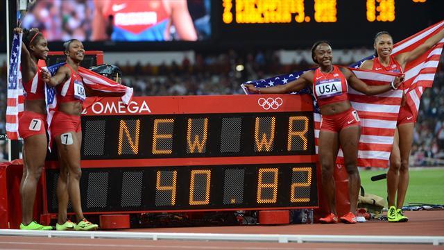 USA smash world record to win women's 4x100m relay