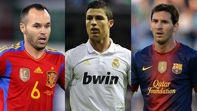 Iniesta, Ronaldo and Messi on Ballon d'Or shortlist