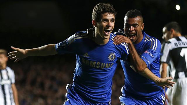 Juventus hold Chelsea despite Oscar brace