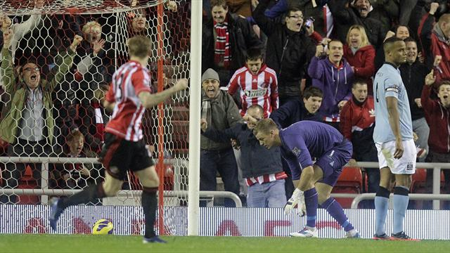 Hart howler as Manchester City lose at Sunderland