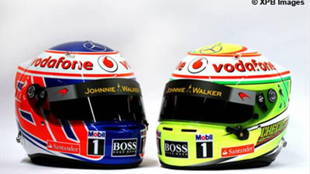 button et p rez d voilent leur nouveau casque formule 1 eurosport. Black Bedroom Furniture Sets. Home Design Ideas
