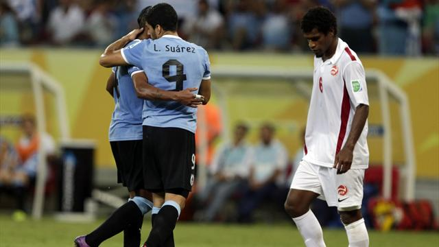 Suarez becomes Uruguay's all-time leading scorer in Tahiti romp