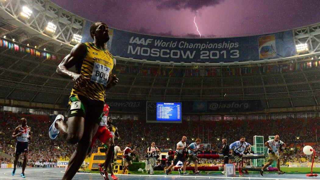 Usain Bolt's famous lightning photo