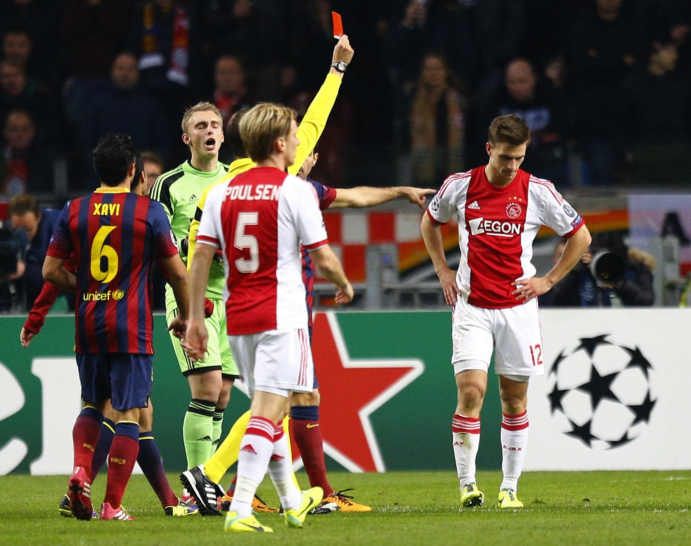 Joel Veltman is sent off for Ajax against Barcelona (Reuters)