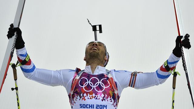 Martin Fourcade remporte un deuxième titre olympique à Sotchi avec sa victoire sur le 20 kilomètres