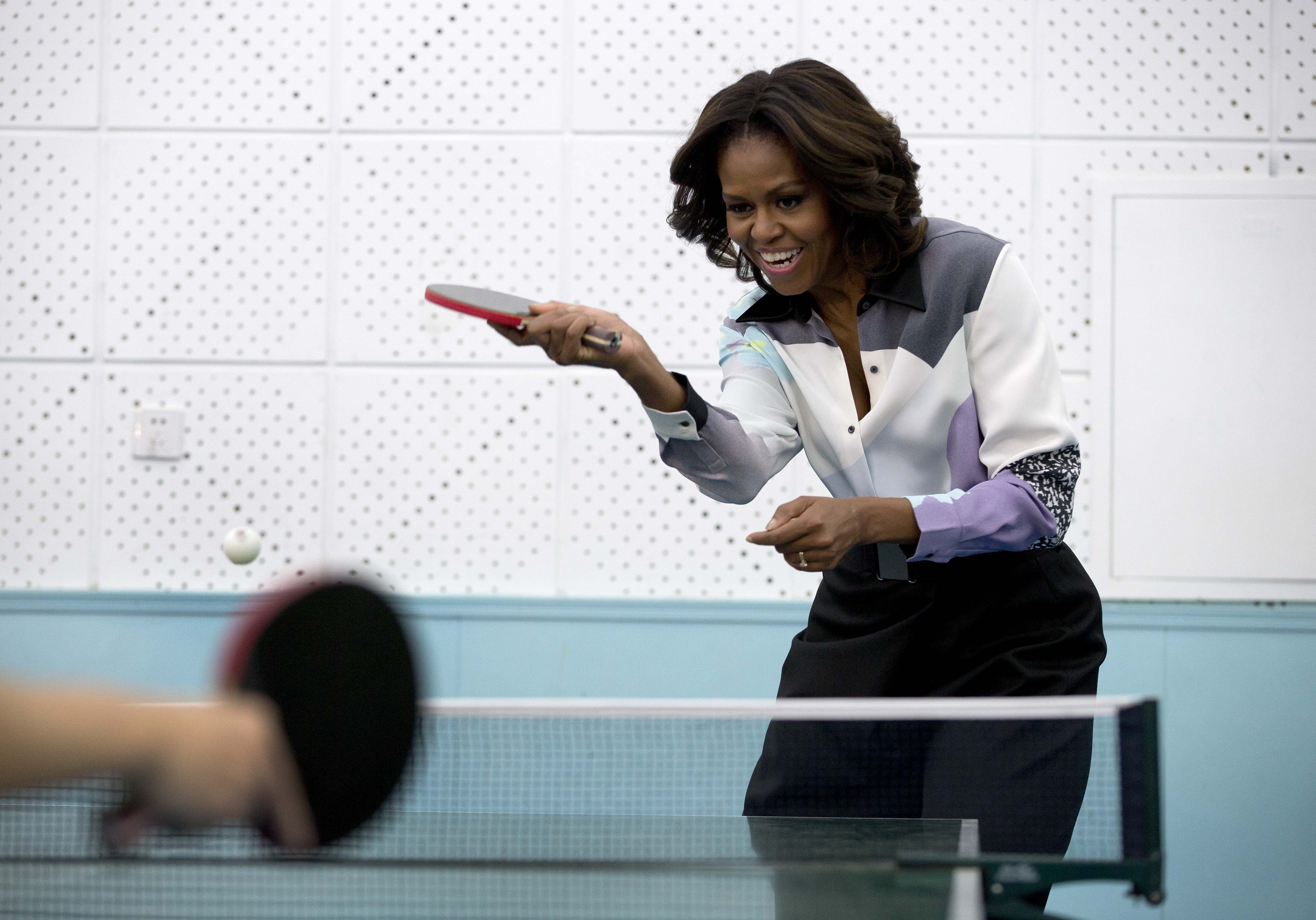 Michelle obama ping pong chine