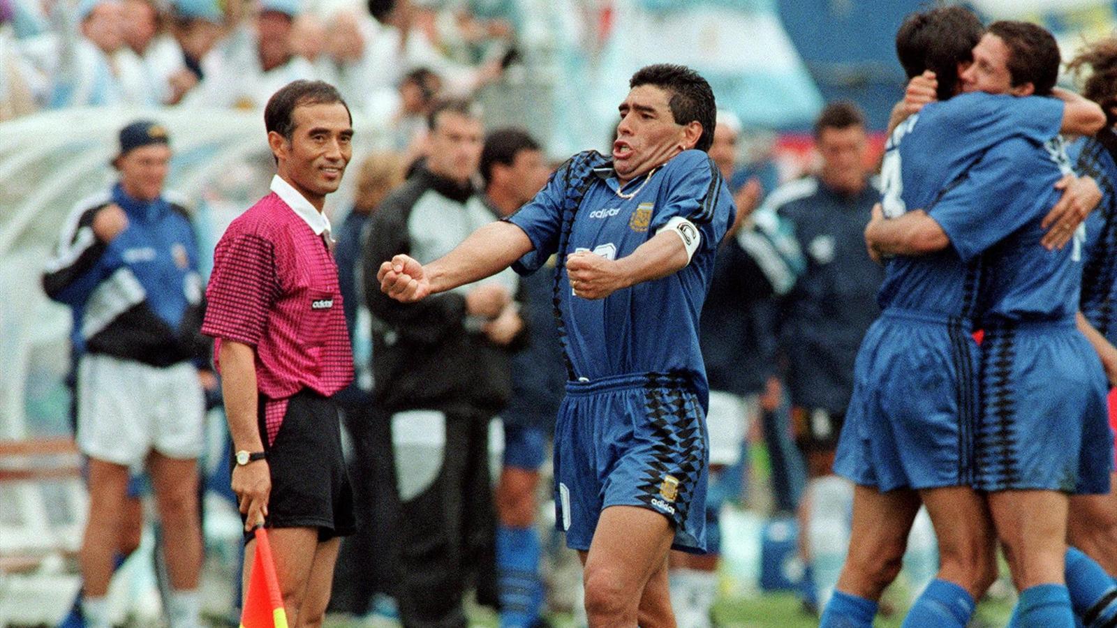 1994 : Diego Maradona après son but face à la Grèce