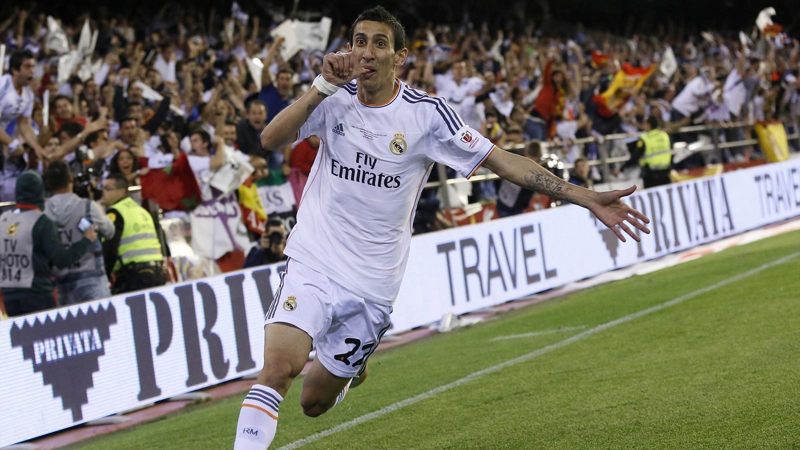 Di Maria (Real Madrid) fête son but face au FC Barcelone en finale de la Coupe du Roi 2014
