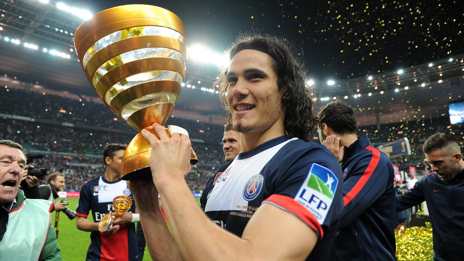 Edinson cavani psg auteur d 39 un doubl a r pondu pr sent en finale coupe de la ligue 2013 - Coupe de la ligue 2013 2014 ...