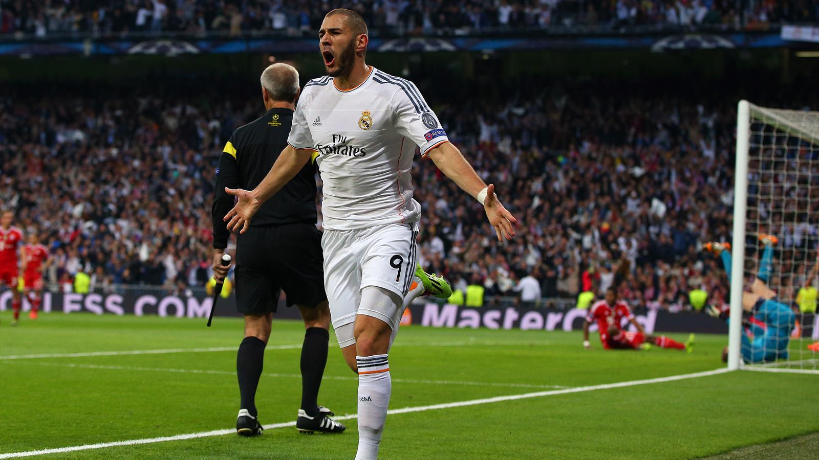 La joie de Karim Benzema (Real Madrid) face au Bayern