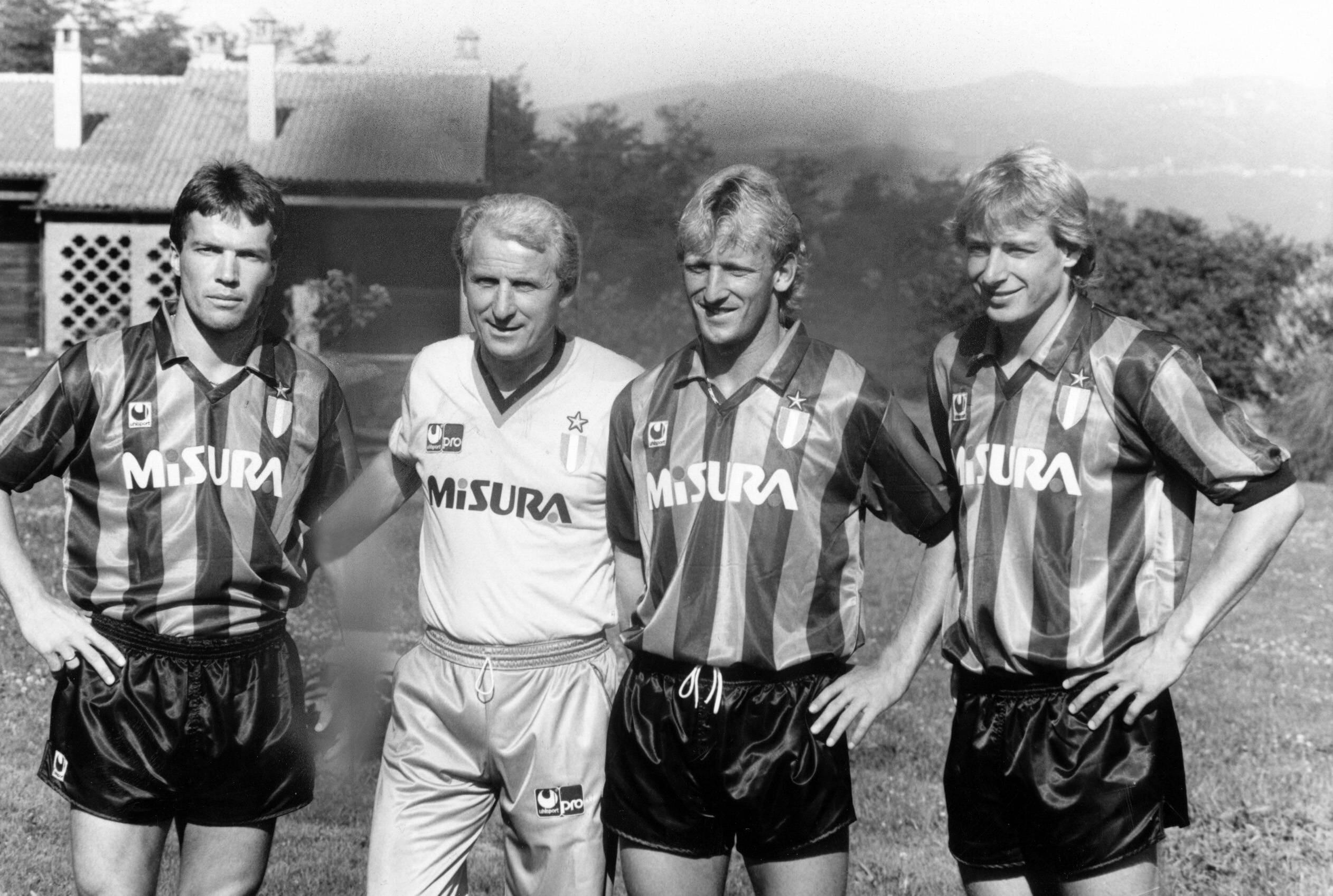 Lothar Matthäus, Giovanni Trapattoni, Andreas Brehme, Jürgen Klinsmann - Inter 1990 (Imago)