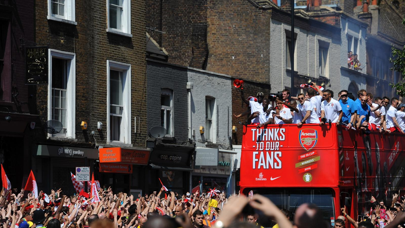 Arsenal celebrate their FA Cup win at the victory parade (Getty)