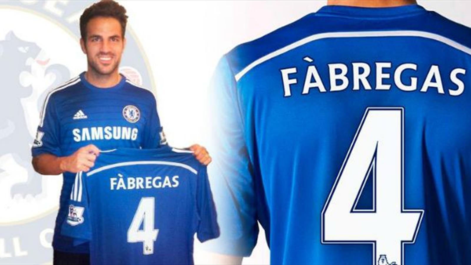 Cesc Fabregas portera le n°4 avec Chelsea