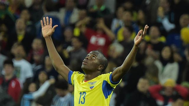 Enner Valencia a inscrit les deux buts de l'Equateur face au Honduras - Coupe du monde 2014