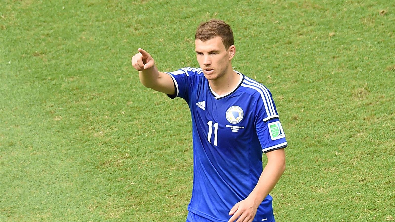 Bosnia-Herzegovina's forward Edin Dzeko gestures after scoring his team's first goal during a Group F football match between Bosnia-Hercegovina and Iran at the Fonte Nova Arena in Salvador during the 2014 FIFA World Cup on June 25, 2014 (AFP)