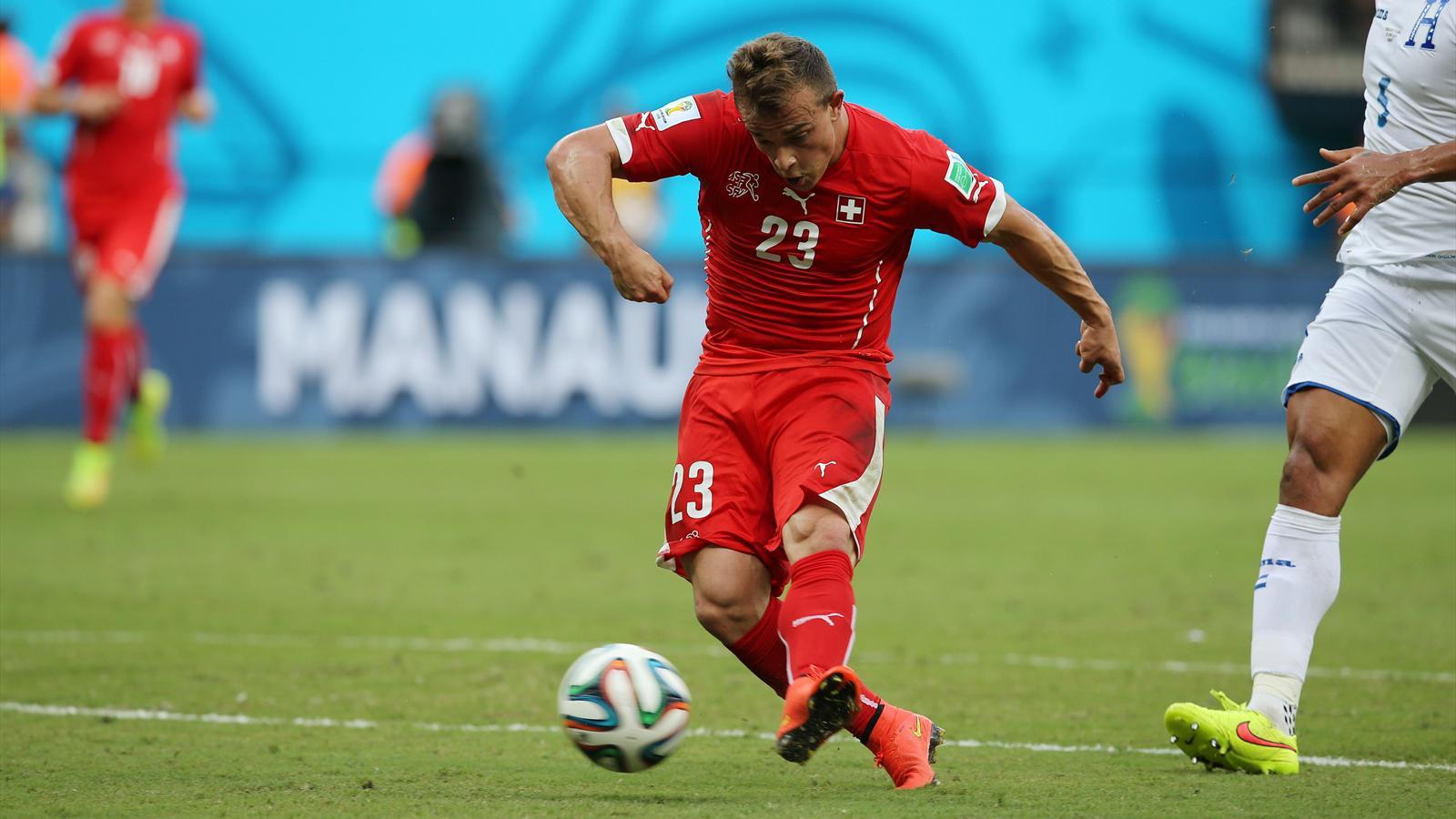 Xherdan Shaqiri, le milieu offensif de la Suisse, a inscrit un triplé face au Honduras - Coupe du monde 2014