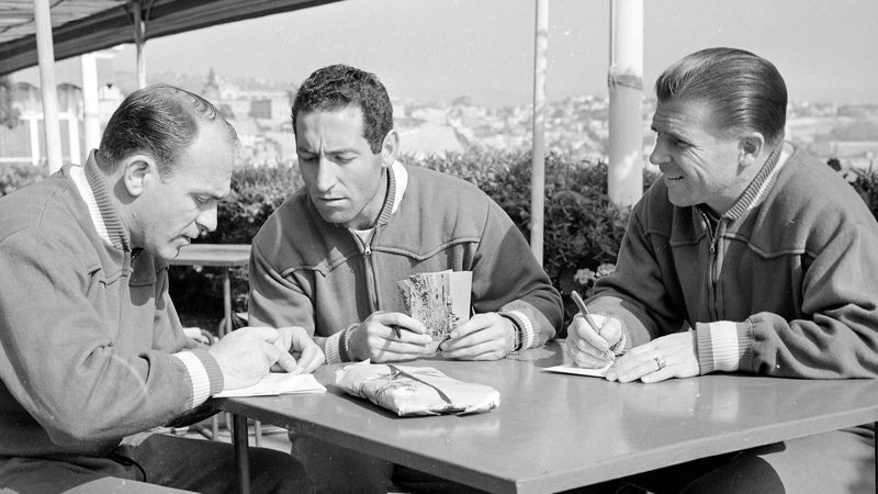 Alfredo Di Stefano, Paco Gento et Ferenc Puskas, réunis avec l'équipe d'Espagne pour la Coupe du monde 1962 au Chili.