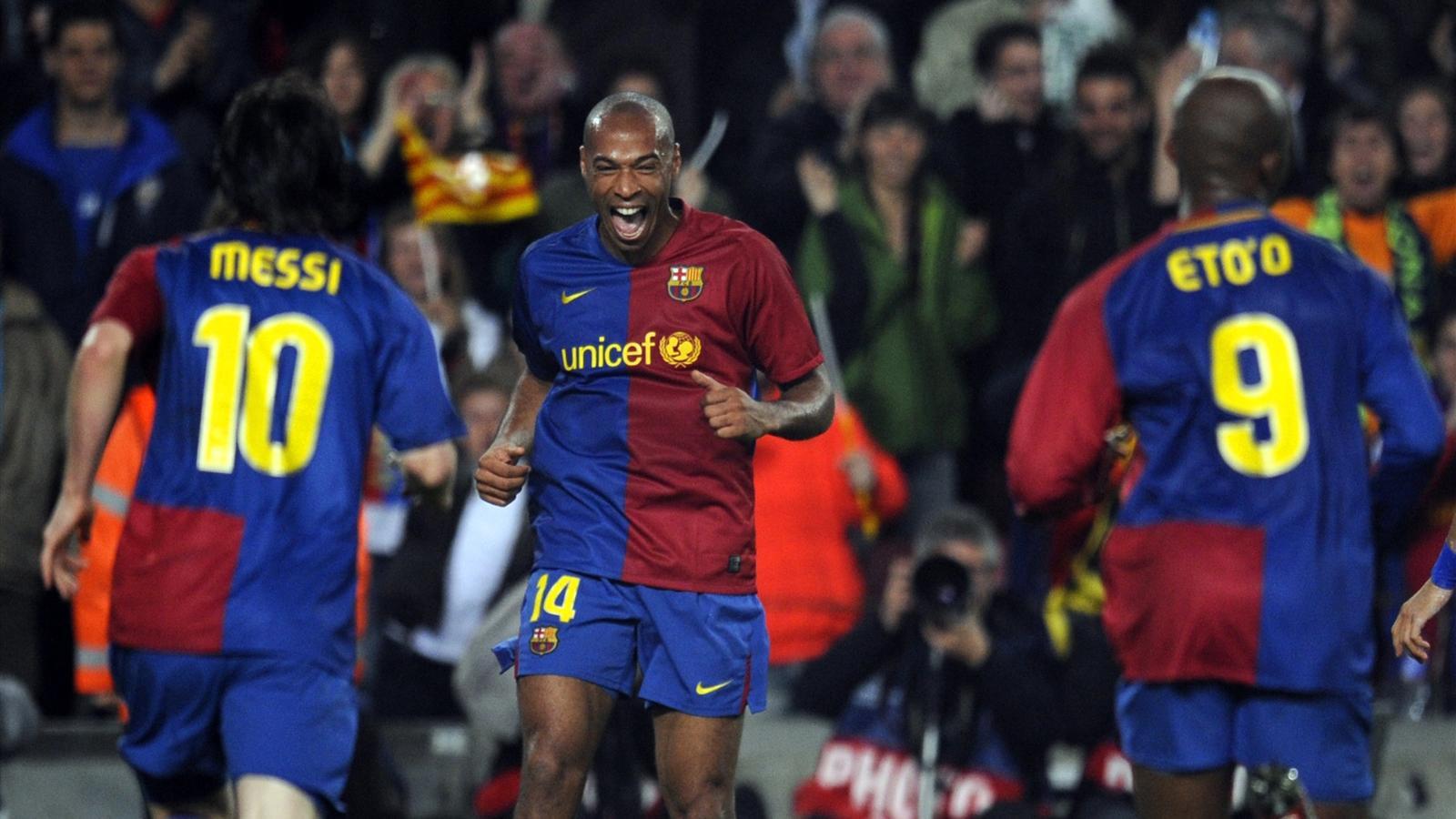 Thierry Henry, Lionel Messi et Samuel Eto'o sous le mailllot du Barça, en 2008-2009.