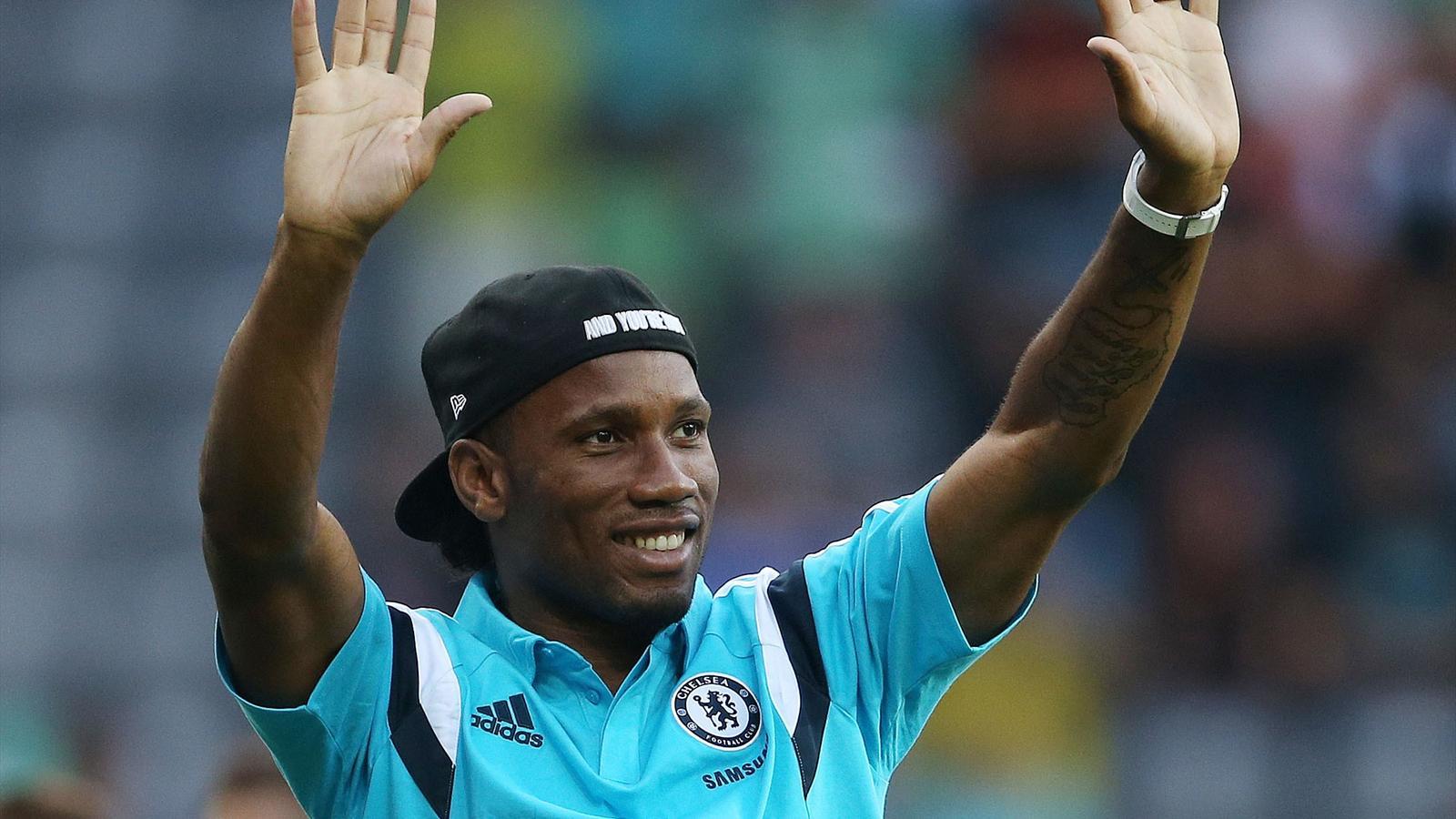 Didier Drogba greets the Chelsea fans (Reuters)