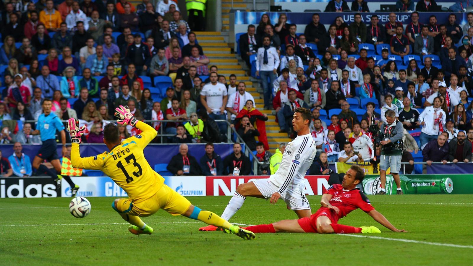 Face au FC Séville, Cristiano Ronaldo a ouvert le score pour le Real Madrid, sur un service de Gareth Bale.