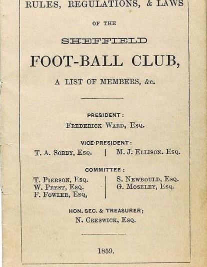 Правила футбола, 1859 год