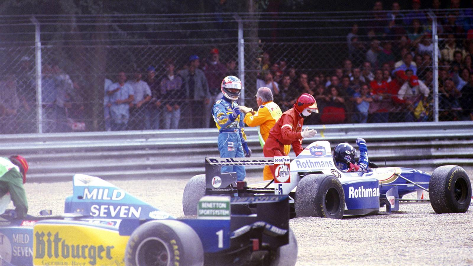 Michael Schumacher (Benetton) et Damon Hill (Williams) au Grand Prix d'Italie 1995