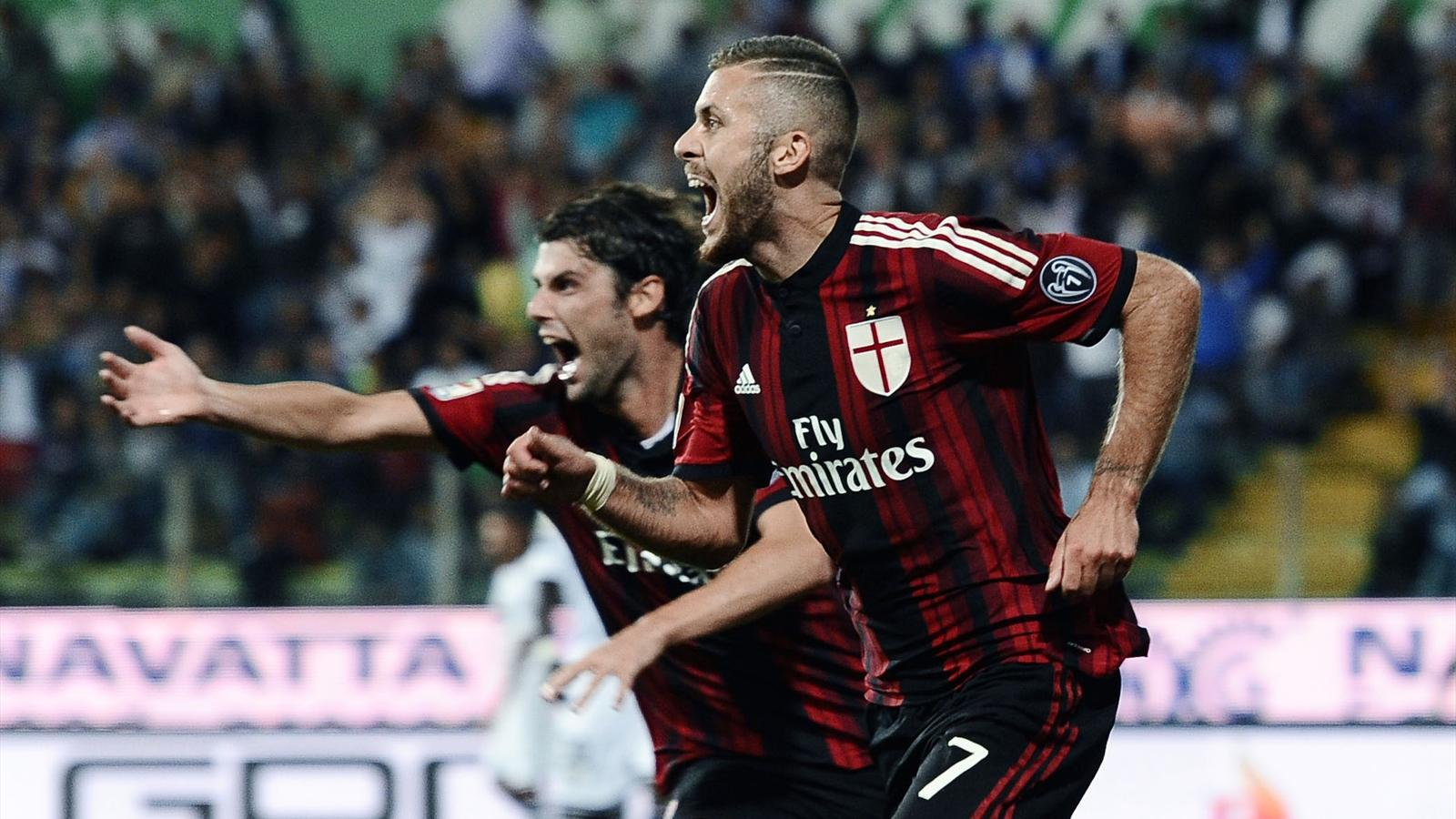 La joie de Jeremy Menez (Milan AC), buteur contre Parme