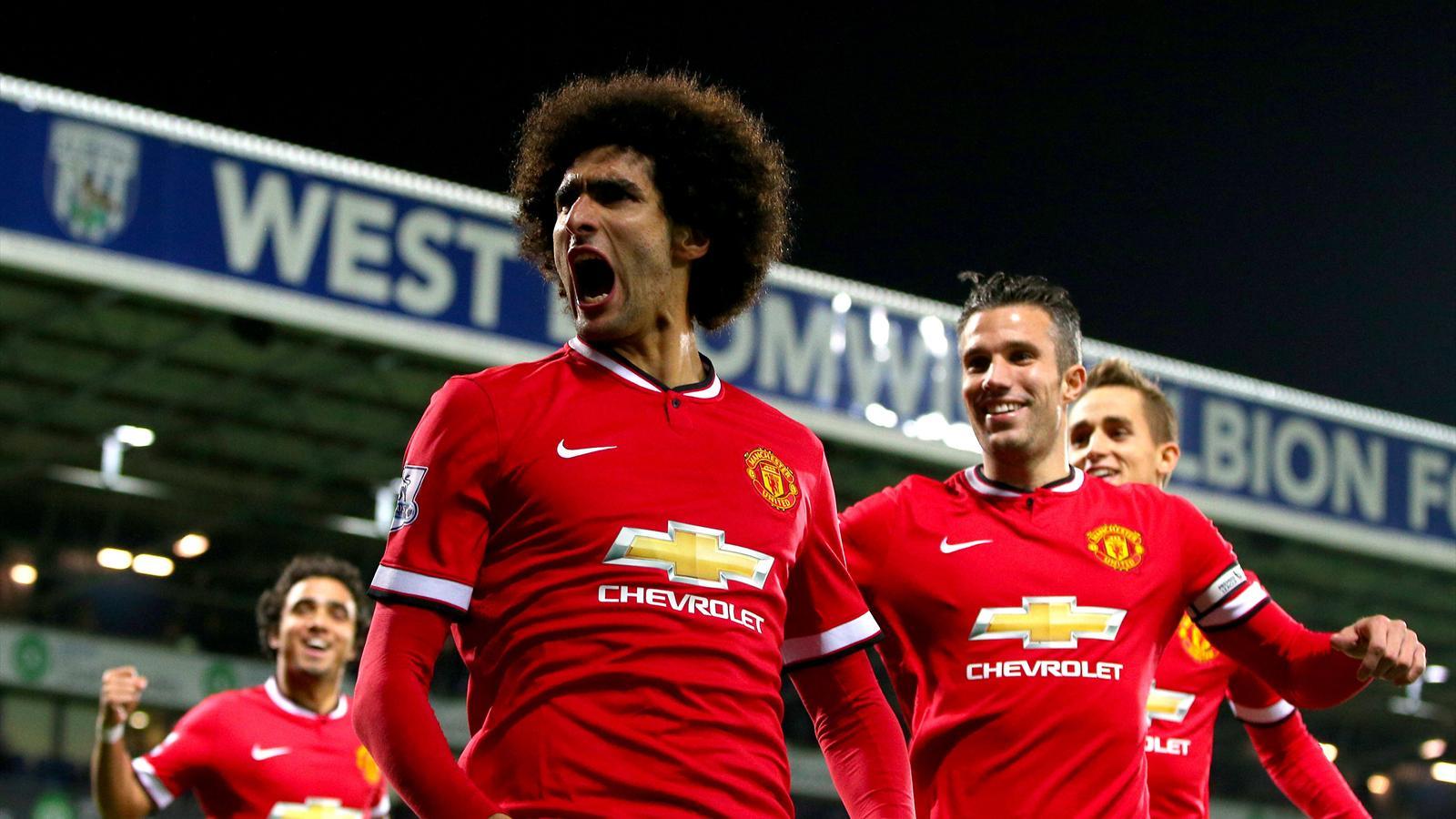Fellaini celebrates scoring a cracker against West Bromwich