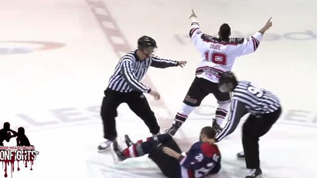 Великолепный нокаут в хоккее с одного удара