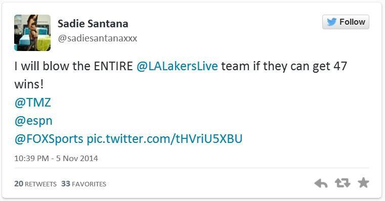 Твит Сэди Сантаны
