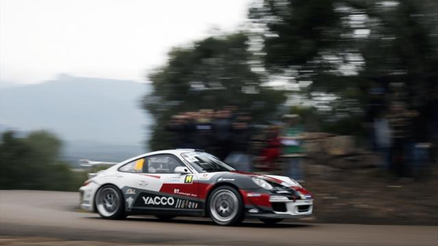 Narrow Zlín roads making it tough going for ERC returnee Dumas and his Porsche