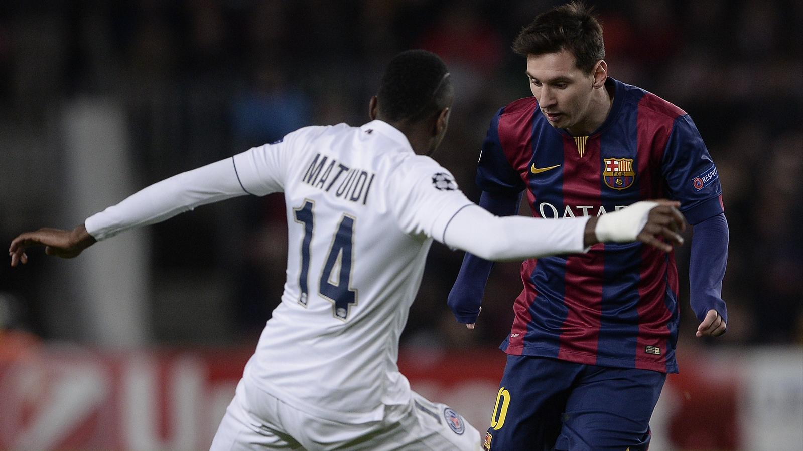 Lionel Messi (Barcelone) face à Blaise Matuidi (PSG)