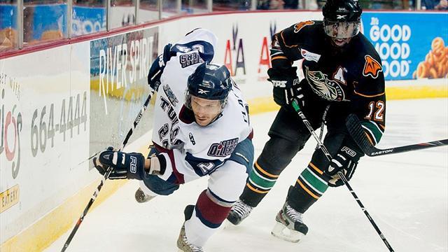 Заградительное стекло не выдержало силового приема игрока ECHL