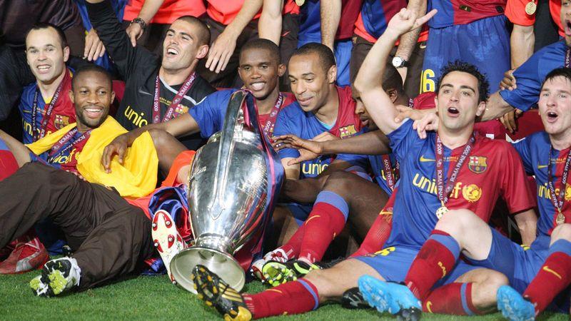 Thierry Henry vainqueur de la Ligue des champions avec le FC Barcelone en 2009.