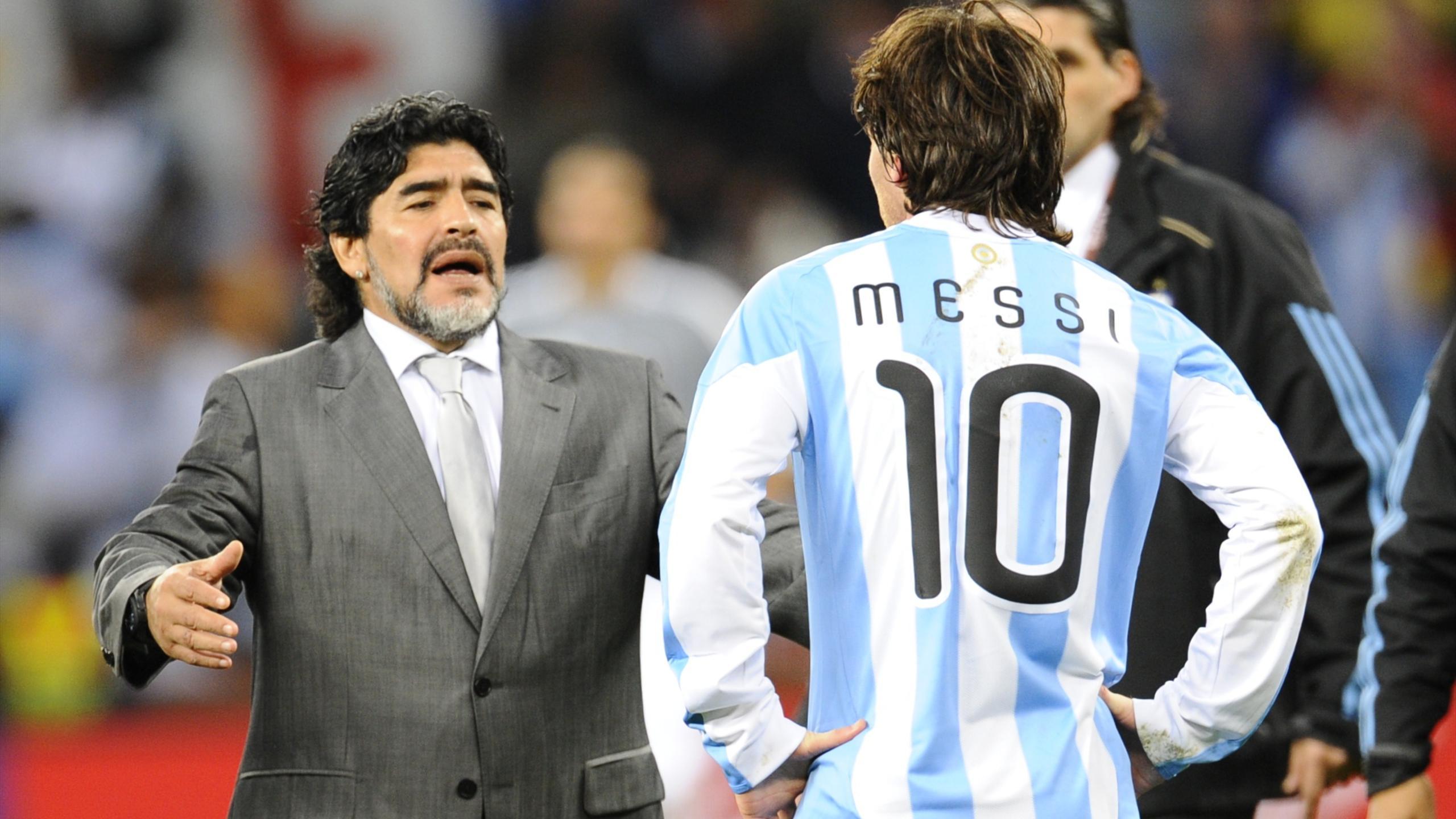 Maradona et Messi en 2010