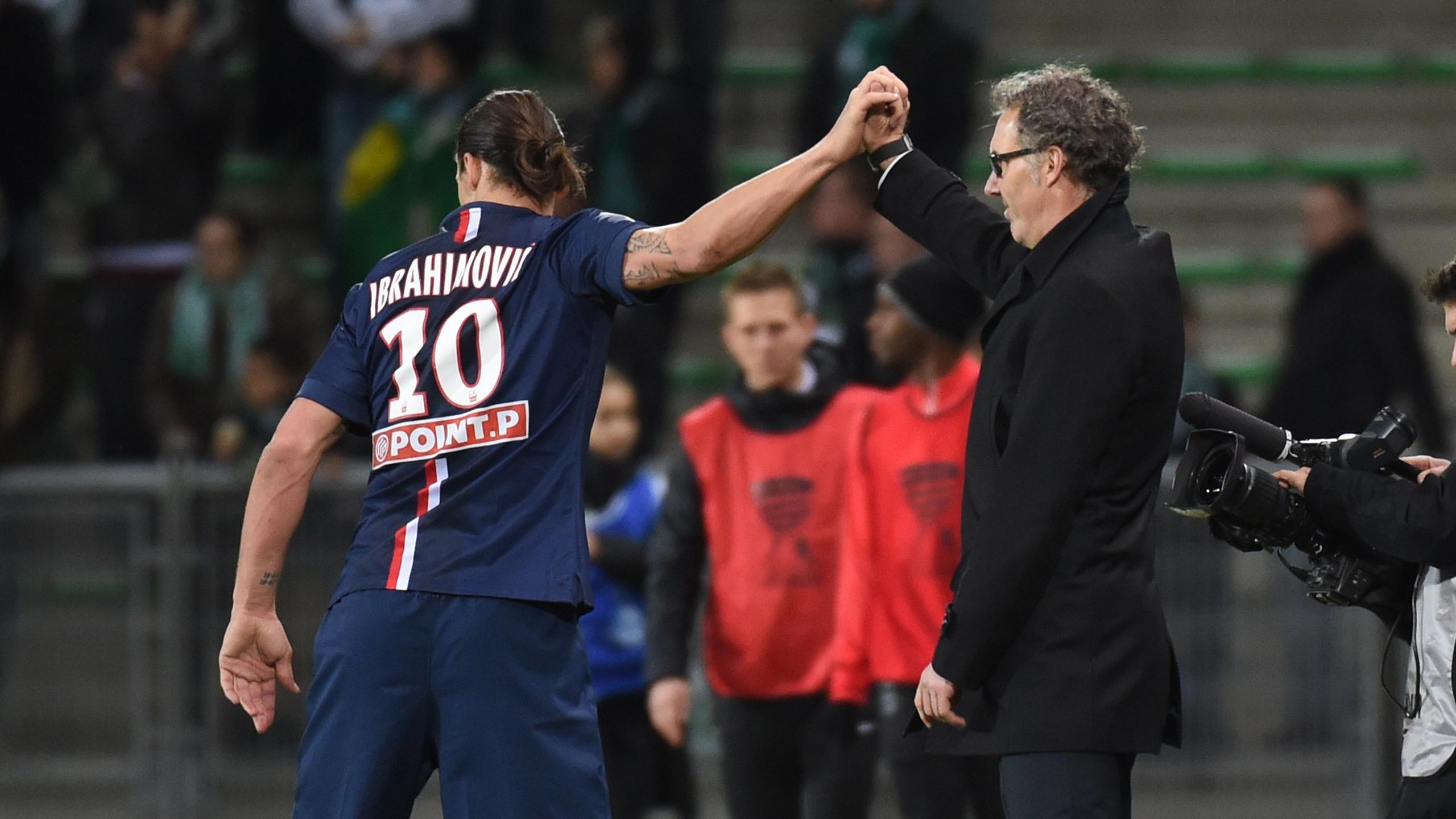 Joie partagée pour Zlatan Ibrahimovic et Laurent Blanc après la victoire du PSG à Saint-Étienne