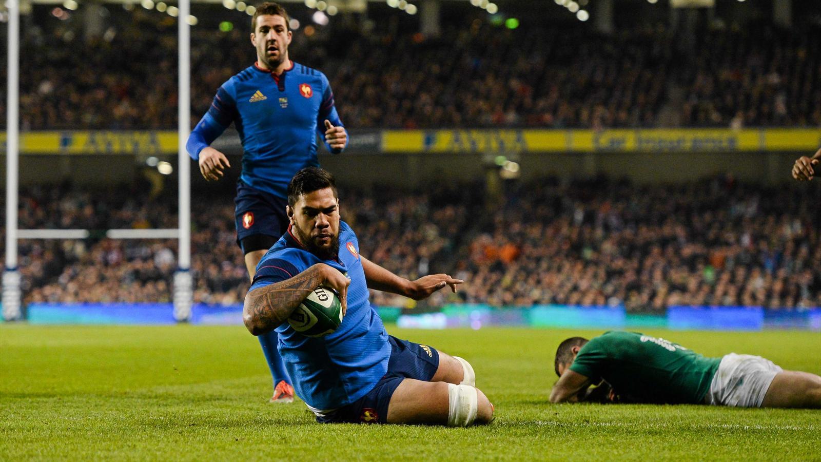 L'essai de Romain Taofifenua (XV de France) face à l'Irlande - 14 février 2015
