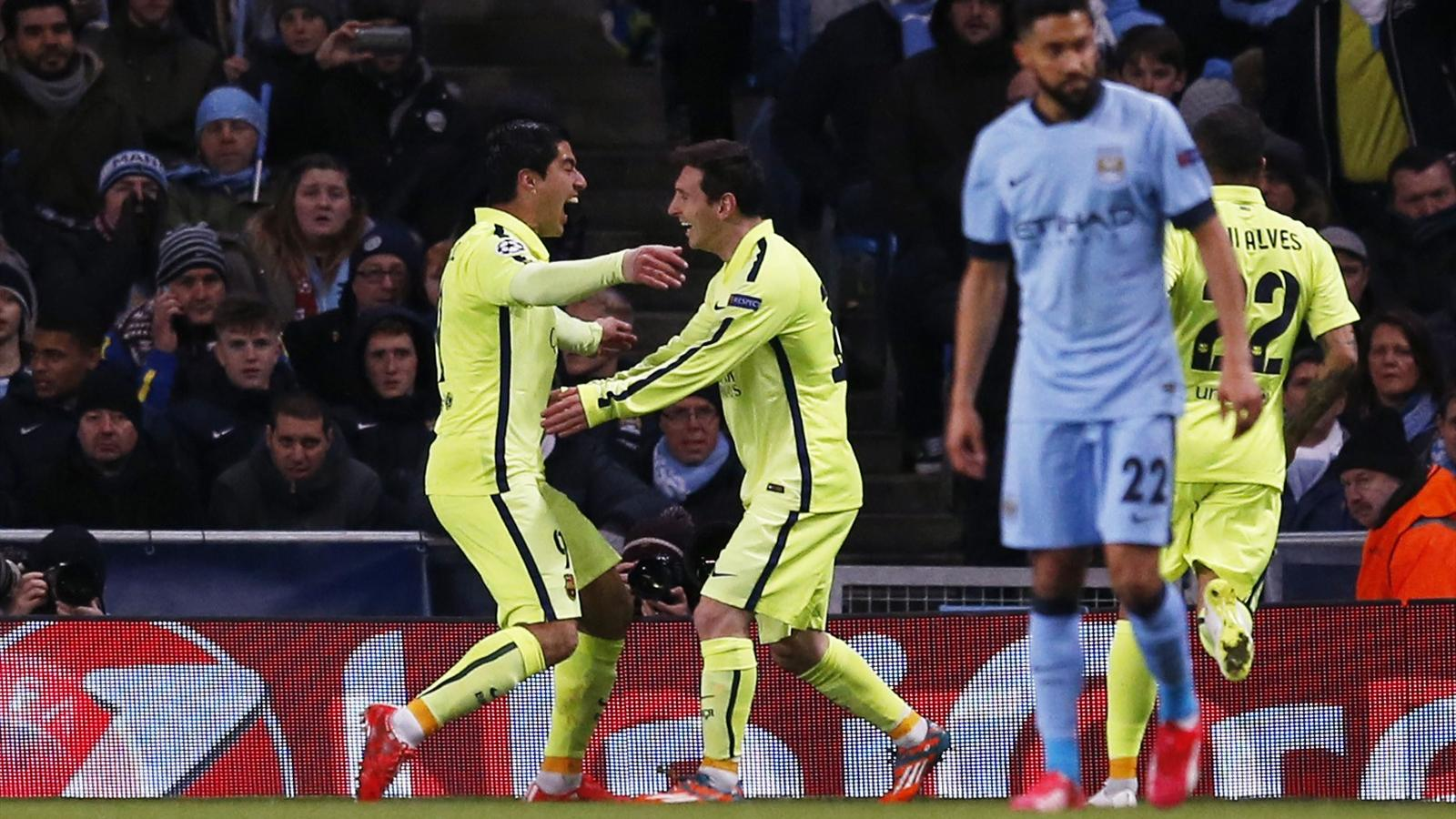Luis Suarez et Lionel Messi (Barça) face à Manchester City