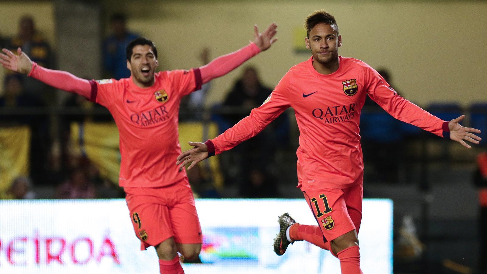 La joie de Neymar et Luis Suarez (Barcelone) face à Villarreal